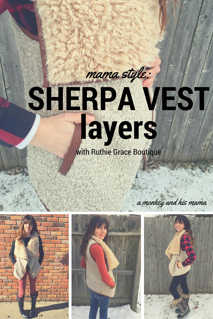 Mama Style Sherpa Vest Layers With Ruthie Grace Boutique A Monkey And His Mama