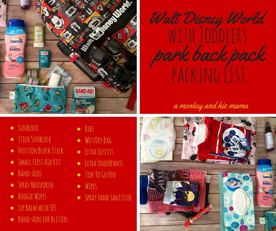Walt Disney World With Toddlers Park Backpack Packing
